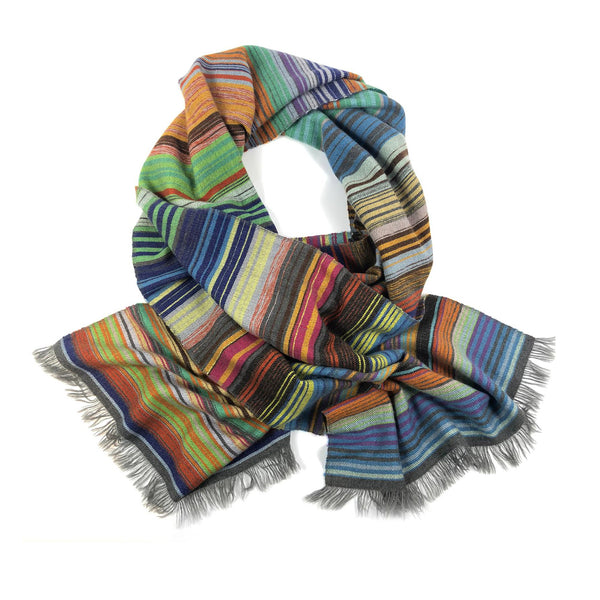 COLOURFUL STRIPE SCARF BIG - GREY