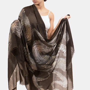 CROCODILE SCARF - DARKBROWN