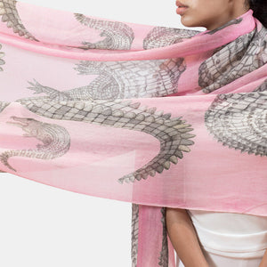 """CROCODILE"" HANDPRINTED SCARF - ROSÉ"