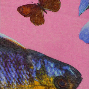 BUTTERFLY & FISH SCARF - PINK