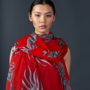 DRAGON SCARF - RED
