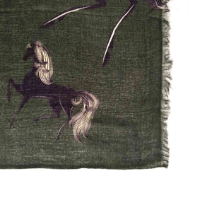 """GALOPP"" HANDPRINTED SCARF - DARKGREEN"