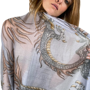 """DRAGON"" HANDPRINTED SCARF - LIGHTGREY"