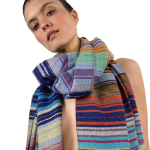 """COLORFUL STRIPE"" SCARF - BLACK BIG"