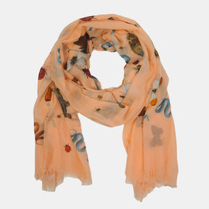 """JUNGLE DANCE"" HANDPRINTED SCARF - MANDARINE"