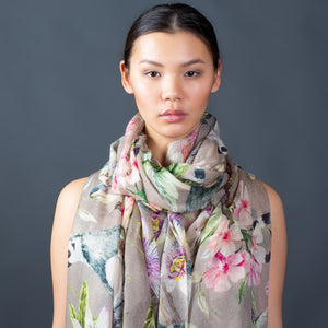 """PARADISE SCARF"" HANDPRINTED SCARF  - TAUPE"