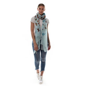 """JUNGLE DANCE"" HANDPRINTED SCARF - BLUE"