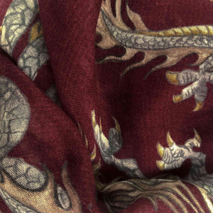 """DRAGON"" HANDPRINTED SCARF - BORDEAUX"