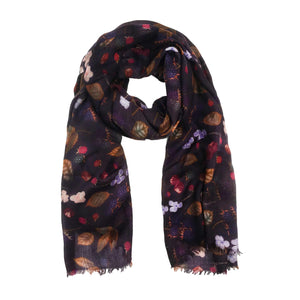 """BERRY"" HANDPRINTED SCARF - BLACK"
