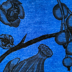BOTANICAL SCARF FELTED MEN - BLUE