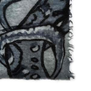 BOTANICAL SCARF FELTED MEN - GREY