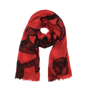 BOTANICAL SCARF MEN - RED