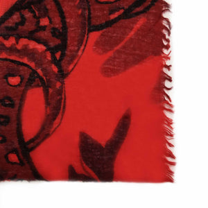 BOTANICAL SCARF FELTED - RED