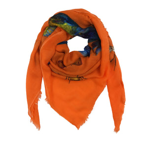 """BUTTERFLY & FISH"" HANDPRINTED SCARF - ORANGE"