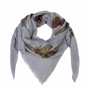 """BUTTERFLY DANCE"" HANDPRINTED SCARF - GREY"