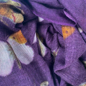 """BUTTERFLY DANCE"" HANDPRINTED SCARF - DARK PURPLE"