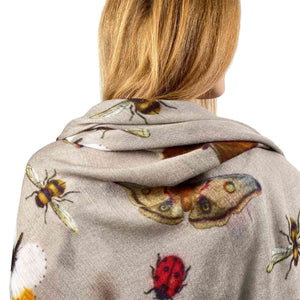 """BUTTERFLY DANCE"" HANDPRINTED SCARF - TAUPE"