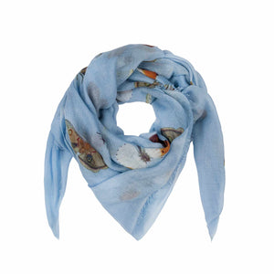 """BUTTERFLY DANCE"" HANDPRINTED SCARF - WATERBLUE"
