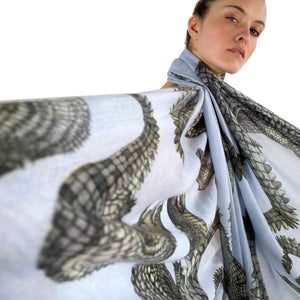 """CROCODILE"" HANDPRINTED SCARF - WATERBLUE"