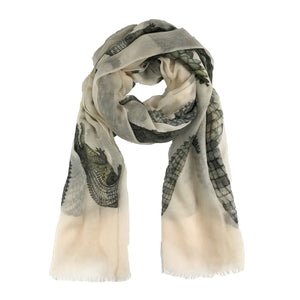 """CROCODILE"" HANDPRINTED SCARF - WHITE"