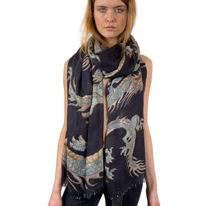 """DRAGON"" HANDPRINTED SCARF - BLACK"