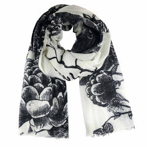 """FLOWER EXPLOSION"" HANDPRINTED/HANDFELTED SCARF - WHITE"