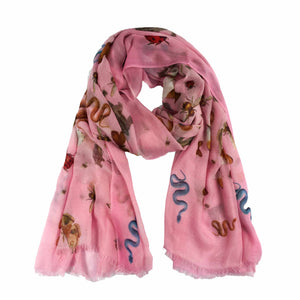 """JUNGLE DANCE"" HANDPRINTED SCARF - PINK"