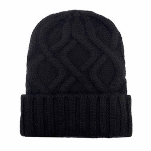 KABLE KNIT CAP - BLACK