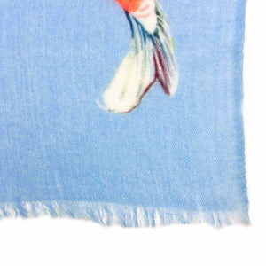 """KOI"" HANDPRINTED SCARF - BLUE"