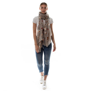 """LADYBIRD"" HANDPRINTED SCARF - TAUPE"
