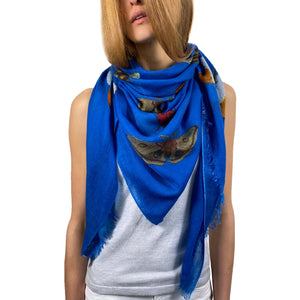 """BUTTERFLY DANCE"" HANDPRINTED SCARF - BLUE"
