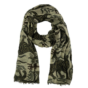 TIBET DRAGON SCARF - GREEN