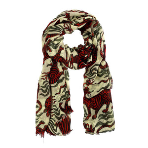 TIBET DRAGON SCARF - RED