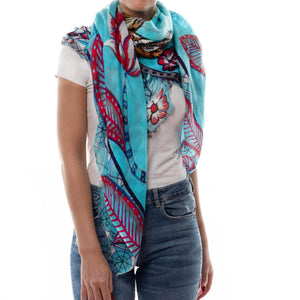 """TIGER & JUNGLE"" HANDPRINTED SCARF LARGE - CYNE"