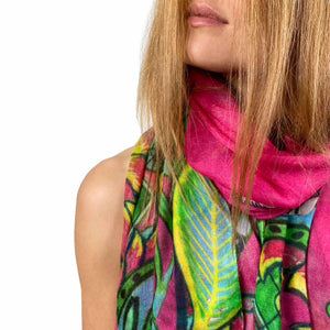"""TIGER & JUNGLE"" HANDPRINTED SCARF LARGE - PINK"