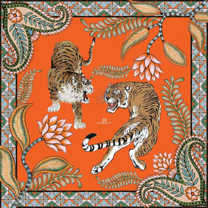 """TIGER & JUNGLE"" HANDPRINTED SCARF - ORANGE"