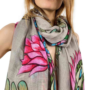 """TIGER & JUNGLE"" HANDPRINTED SCARF LARGE - TAUPE"