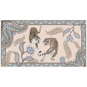 """TIGER & JUNGLE"" HANDPRINTED SCARF LARGE - CREME"