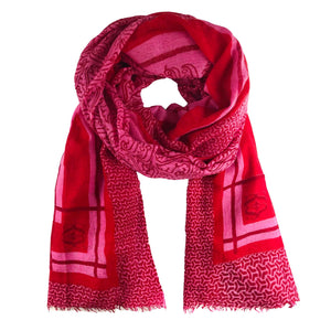 """VENEZIA"" HANDPRINTED/HANDFELTED SCARF - RED"