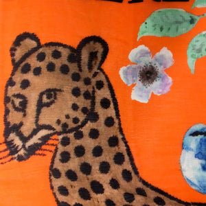 """VENICE LEO"" HANDPRINTED SCARF – ORANGE"