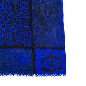 """WE LOVE LEO"" HANDFELTED/HANDPRINTED SCARF  –  ROYAL BLUE"