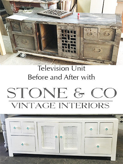 Television cabinet before and after