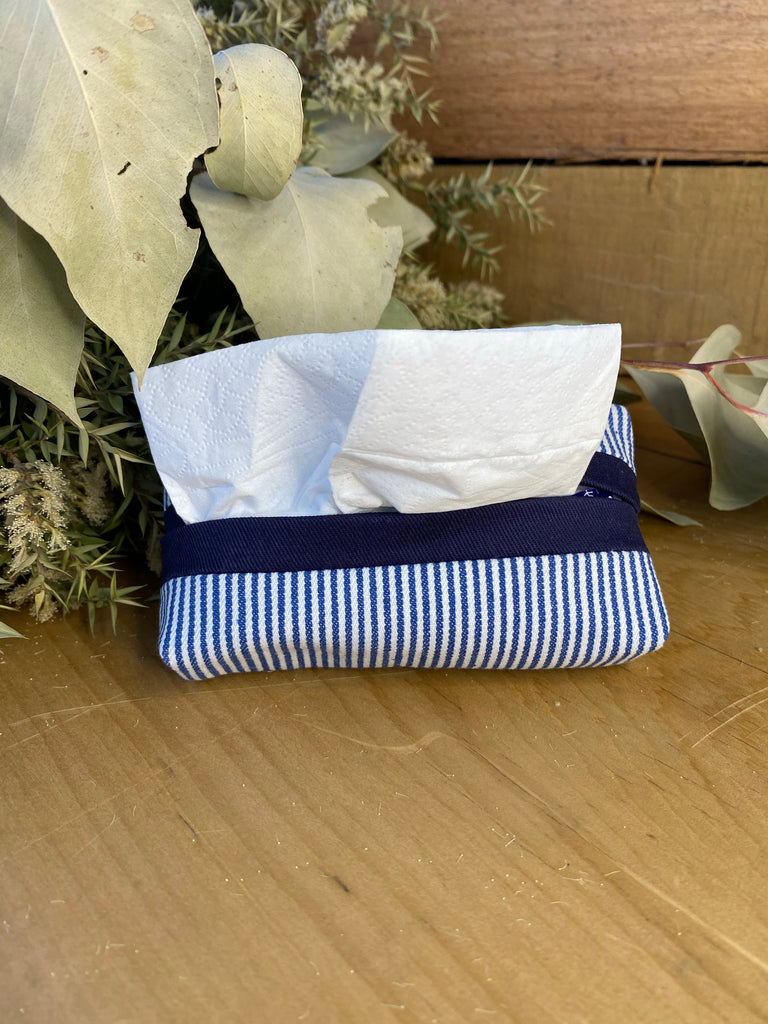 Navy stripe tissue purse