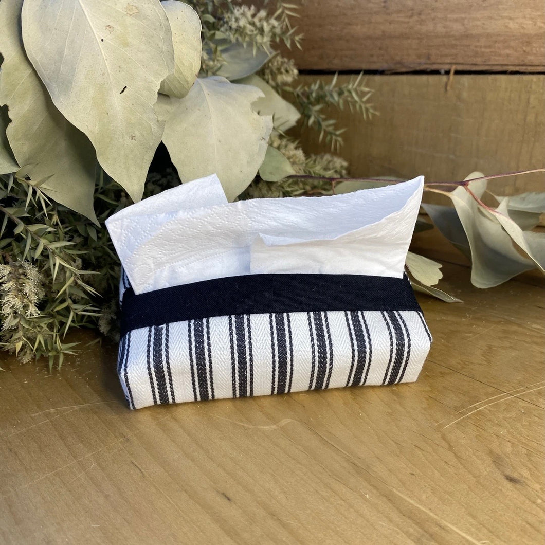 Charcoal stripe tissue purse