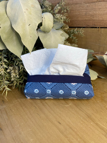 Blue tissue purse