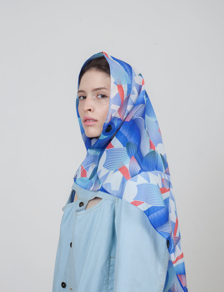 Barbunia Scarf, 88x88 cm, Cotton-Silk Blends