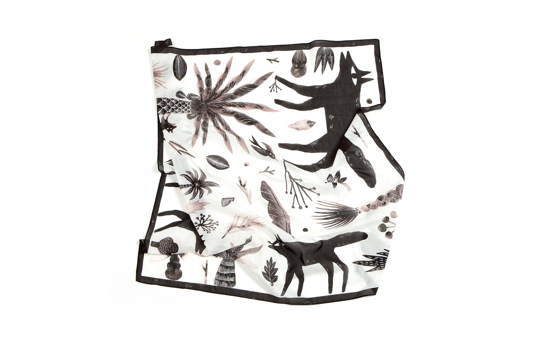 Wolves Handkerchief, 42x42 cm, Cotton-Silk Blends
