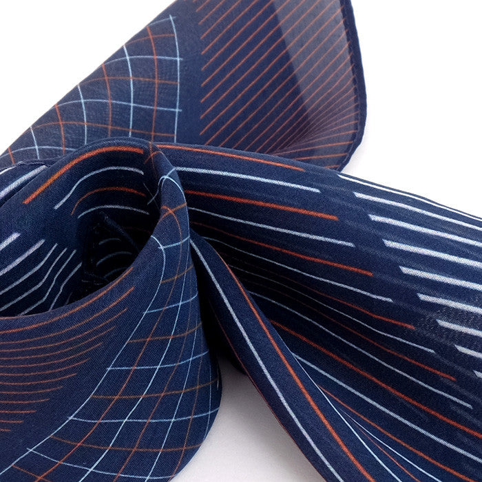 Silk-Cotton Pocket Square BLUORG#05b 42x42