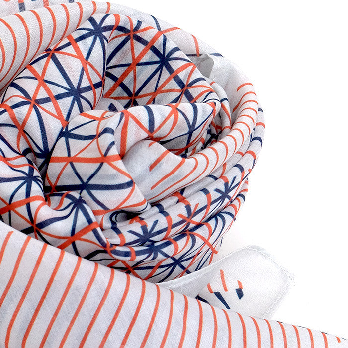 Silk-Cotton Scarf BLUORG#05 90x90