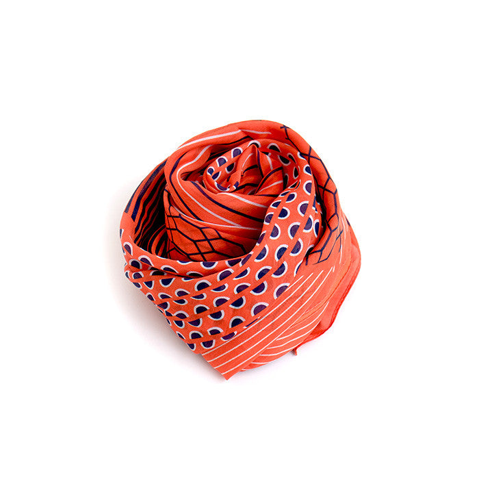 Silk-Cotton Scarf BLUORG#06 88x88